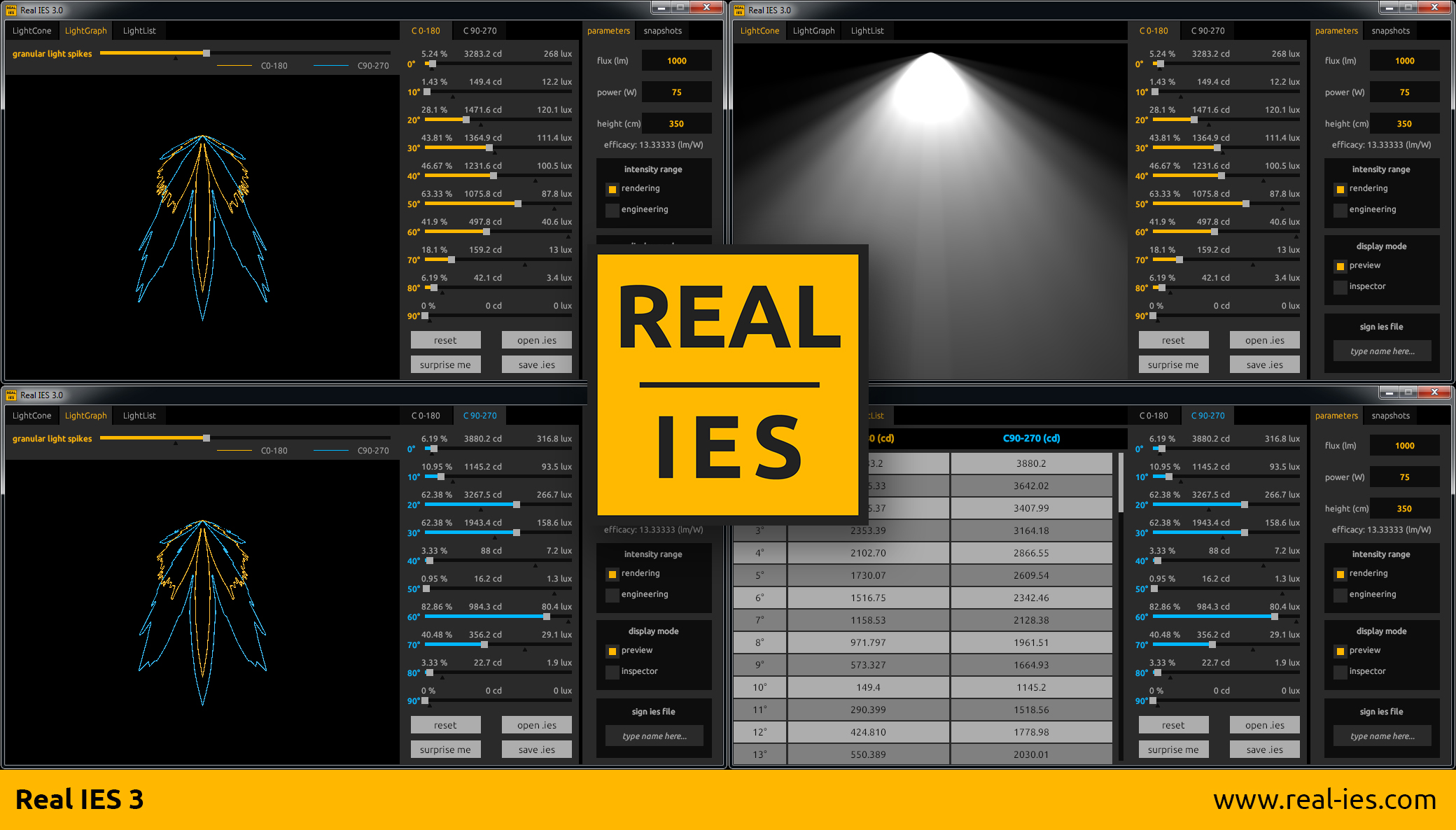 Real IES 3 user interface features